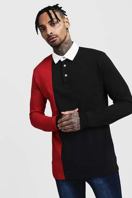 boohoo Colour Block Split Panel Rugby Polo