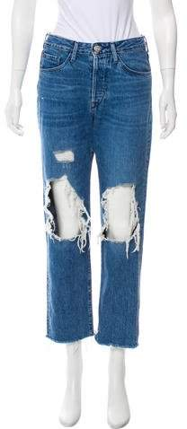 3x1 NYC Distressed Mid-Rise Jeans
