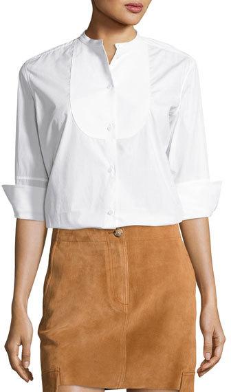 Helmut LangHelmut Lang 3/4-Sleeve Cotton Poplin Tuxedo Shirt, White