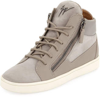 Giuseppe Zanotti Lace-Up Leather/Suede Mid-Top Sneaker