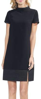 Vince Camuto Vince Caputo Trapunto Detail Mock Neck Minidress