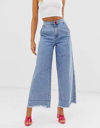 Miss Sixty wide leg flare jeans with raw hem