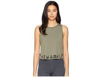 Jessica Simpson TheWarmUp Branded Cropped Tank Top Women's Workout