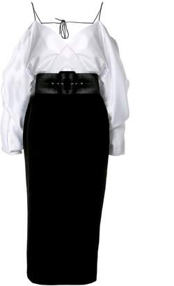 Rasario cold-shoulder satin dress