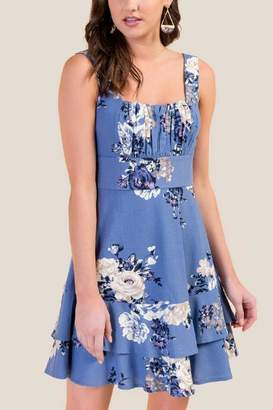 francesca's Cindy Tiered Floral Fit & Flare Dress - Chambray