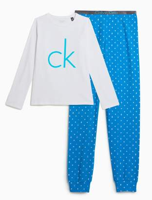 Calvin Klein girls customized stretch knit pajama set