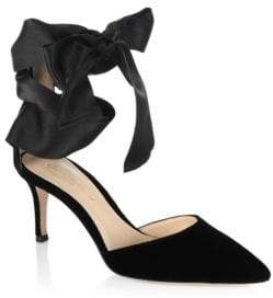 Gianvito Rossi Velvet Satin Bow d'Orsay Pumps