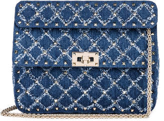 Valentino Rockstud Spike Medium Shoulder Bag in Denim | FWRD