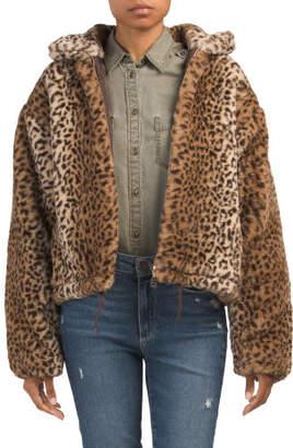 Drawstring Waist Faux Fur Coat