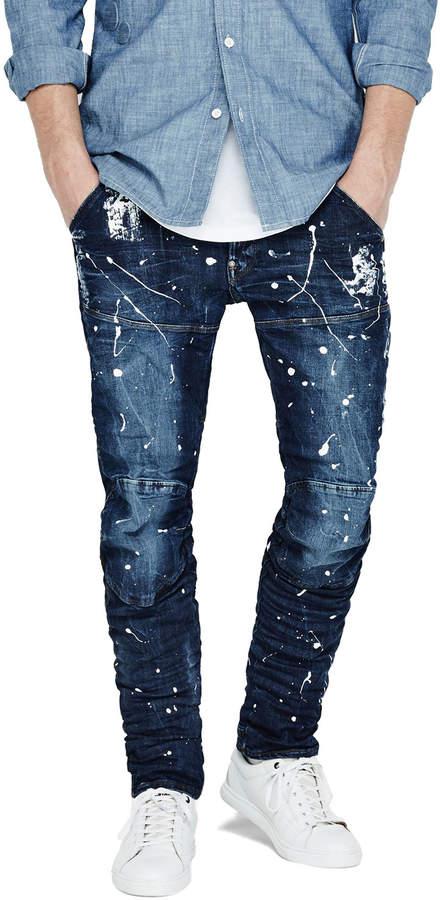 G-Star Paint-Splatter Denim Moto Jeans, Extreme Painted 2