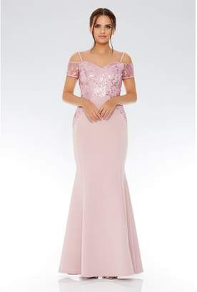 Quiz Mauve Cold Shoulder Sequin Embellished Maxi Dress
