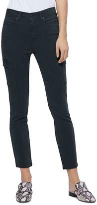 Paige Hoxton Skinny Cargo Ankle Jeans in Vintage Midnight Green