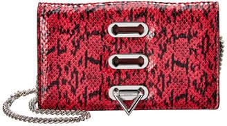 Salar Milano Trini Snake-Embossed Leather Clutch