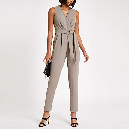 Womens Dark Grey wrap front tie waist jumpsuit
