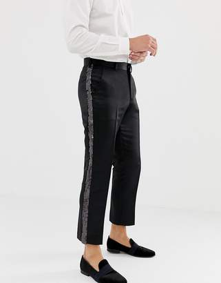 Asos DESIGN slim crop smart pants in black satin with sequin side stripe