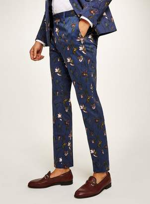 Topman Navy Tulip Skinny Suit Trousers
