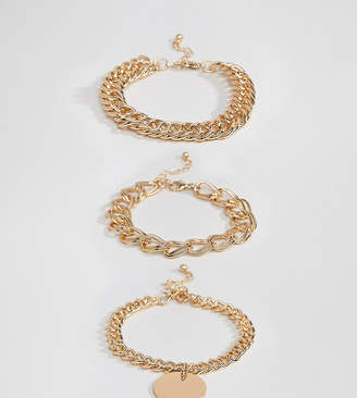 Missguided chunky chain bracelet multipack in gold