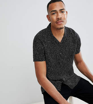 Jacamo Revere Collar Shirt In Black Spot