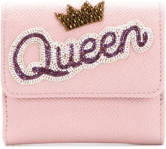 Dolce & Gabbana french flap wallet with Queen appliqué
