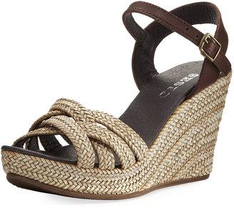 Sesto Meucci 7594 Woven Wedge Espadrille Sandal, Beige $179 thestylecure.com