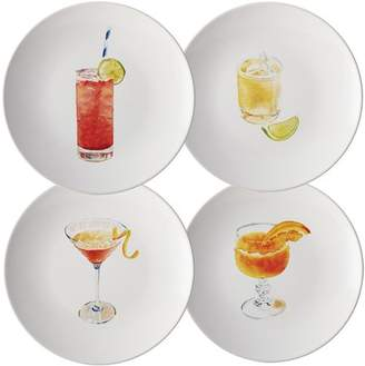 Rachael Ray Dinnerware Cocktails 4-Piece Stoneware Party Plate Set, Assorted