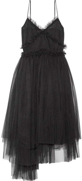 MSGM - Pleated Tulle Midi Dress - Black