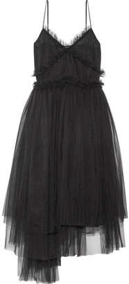 MSGM Pleated Tulle Midi Dress - Black