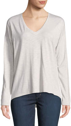 Lilla P Long-Sleeve Seamed-Back V-Neck Tee