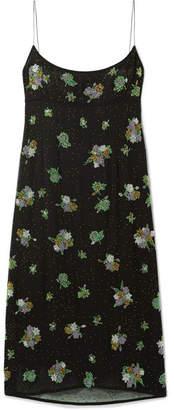 Marc Jacobs Bead-embellished Silk-chiffon Midi Dress - Black