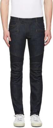 Balmain Indigo Biker Rib Jeans $975 thestylecure.com