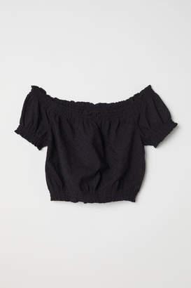 H&M Short Off-the-shoulder Blouse - Black