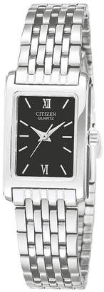 JCPenney Citizen Quartz Citizen Womens Rectangular Black Dial Stainless Steel Bracelet Watch EJ5850-57E