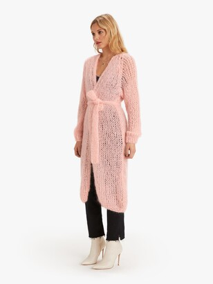 Maiami Mohair Slim Coat Sweater - Bubble Pink