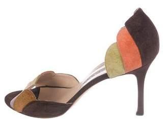 Manolo Blahnik Peep-Toe Suede Sandals