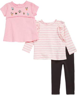 Little Me Cactus Embroidered Swing T-Shirt, Ruffle T-Shirt & Leggings Set