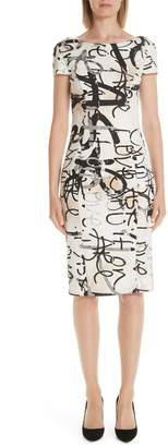 Max Mara Alcali Scribble Print Sheath Dress