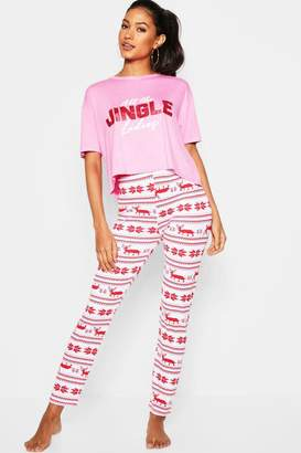 boohoo Festive Jingle Ladies Glitter PJ set