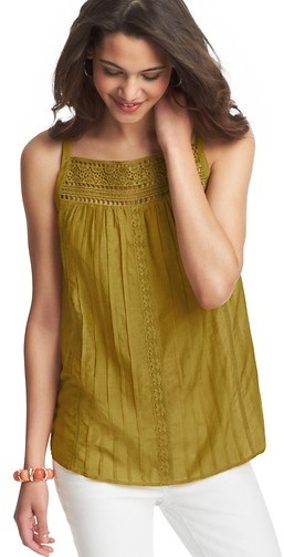 LOFT Crochet Lace Yoke Cotton Silk Cami