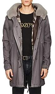 Mr & Mrs Italy Men's Fur-Lined Cotton Fishtail Parka-Gray