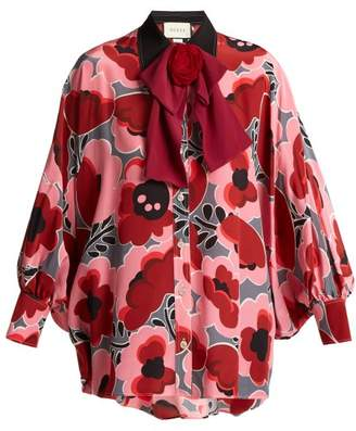 Gucci - Poppy Print Silk Blouse - Womens - Pink