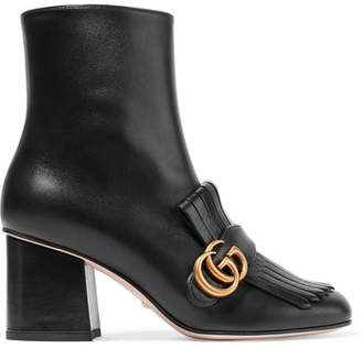 Gucci Marmont Fringed Logo-embellished Leather Ankle Boots - Black