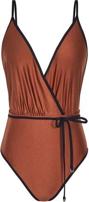 Reiss Tahlia - Plunge Wrap Front Swimsuit in Bronze