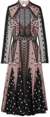 Temperley London Storm Embroidered Tulle And Printed Georgette Dress - Black