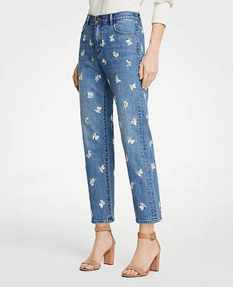 Ann Taylor Floral Embroidered Straight Crop Jeans