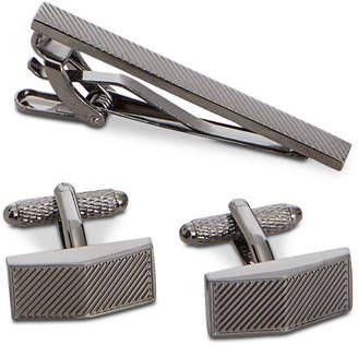 Perry Ellis Men's Puzzle Cuff Links & Tie Bar Set
