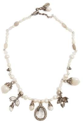 Alexander McQueen Crystal And Charm Embellished Pearl Choker - Womens - White