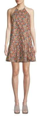 Rebecca Taylor Floral Peplum Hem Halter Cotton Dress