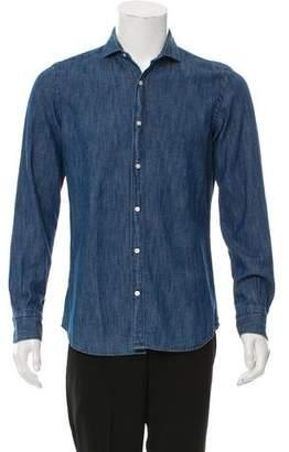 Massimo Dutti Chambray Spread Collar Shirt