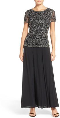 Pisarro Nights Beaded Mock Two-Piece Gown $218 thestylecure.com