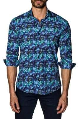 Jared Lang Geometric Cotton Button-Down Shirt